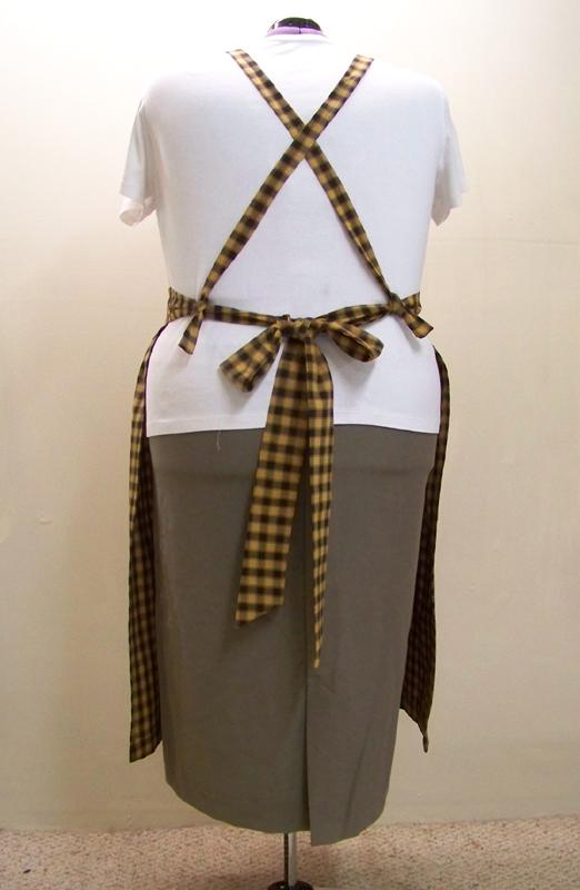 Plus Size Black Check Bib Apron with crossed ties