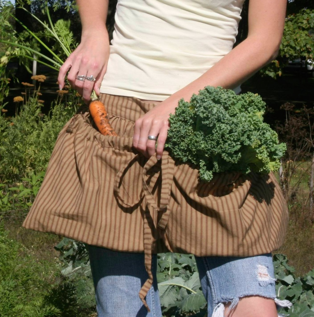 Gathering Aprons in Brown Stripe Homespun by The Vermont Apron Company