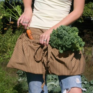 Gathering Bag Apron in Brown Stripe by The Vermont Apron Company