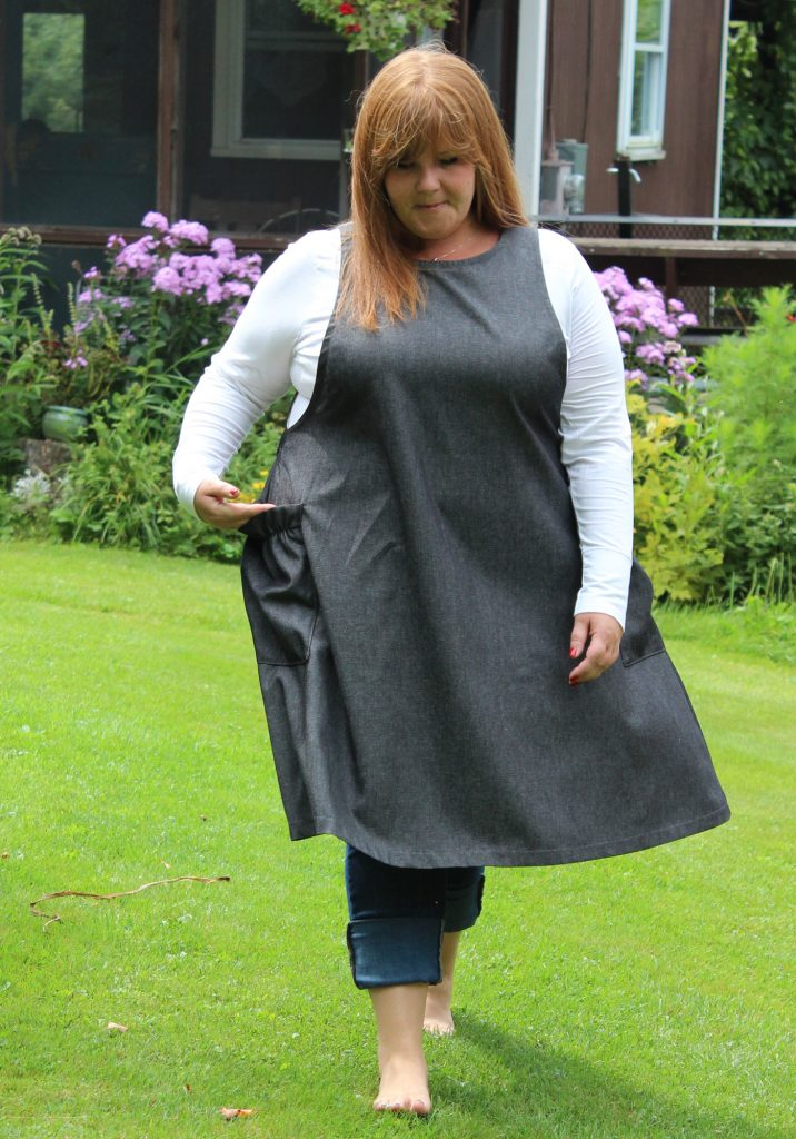 Plus Size Denim Jumper in Black by The Vermont Apron Company 2