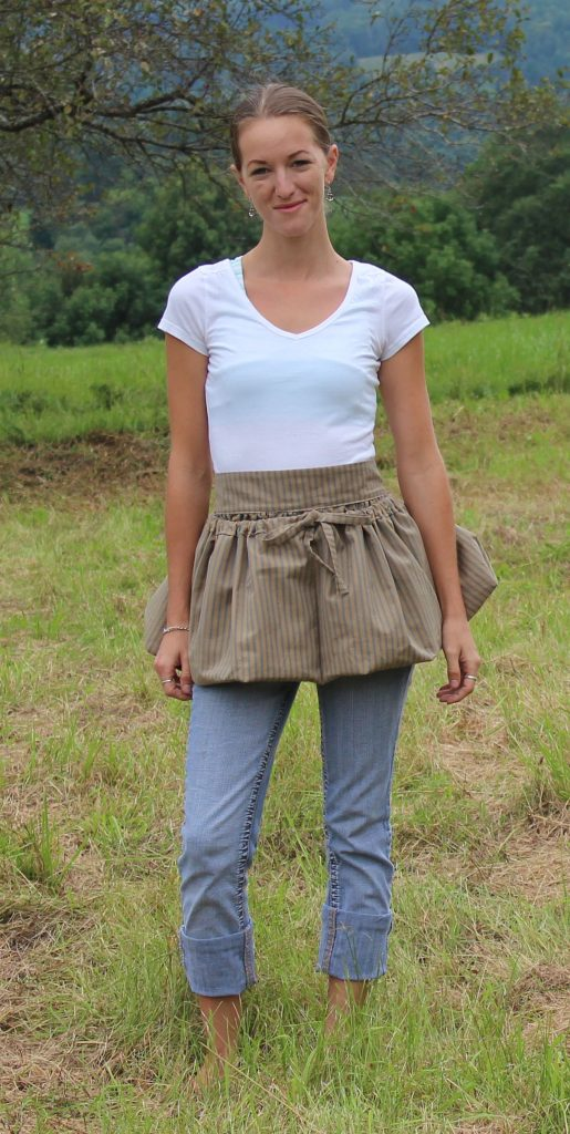 Gathering Aprons in Blue Stripe Homespun by The Vermont Apron Company