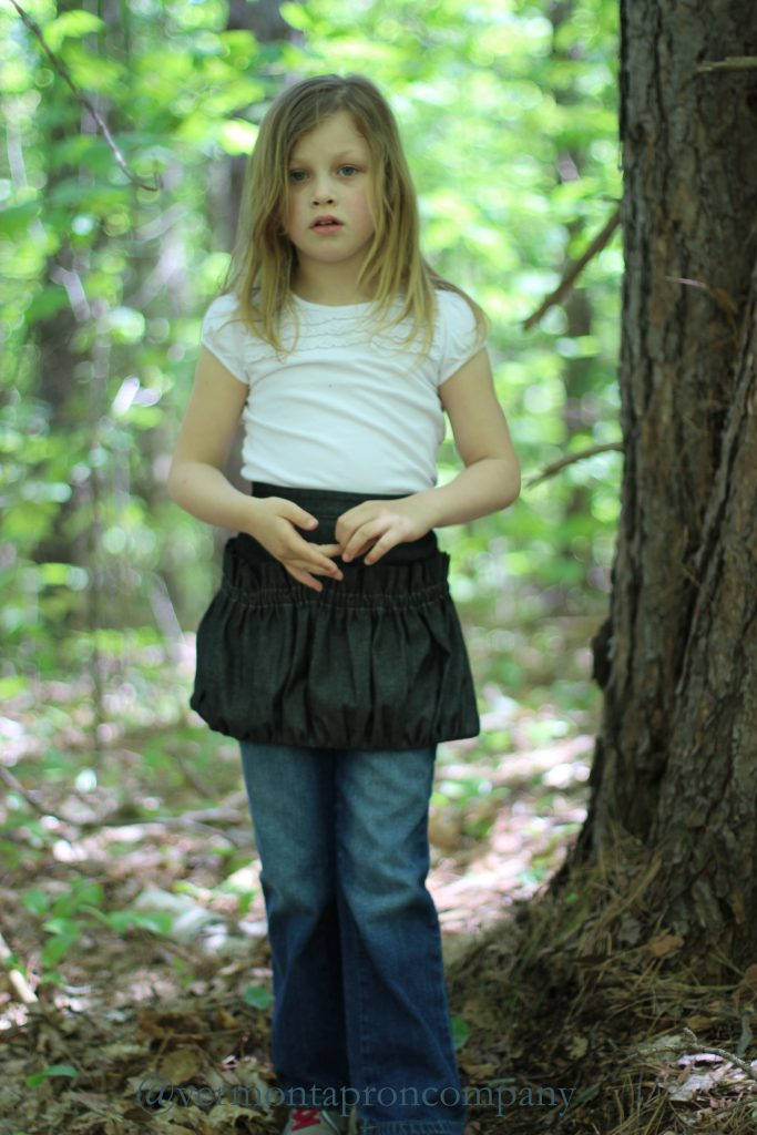 Childrens Aprons/Gathering Apron for kids by The Vermont Apron Company in Black Denim