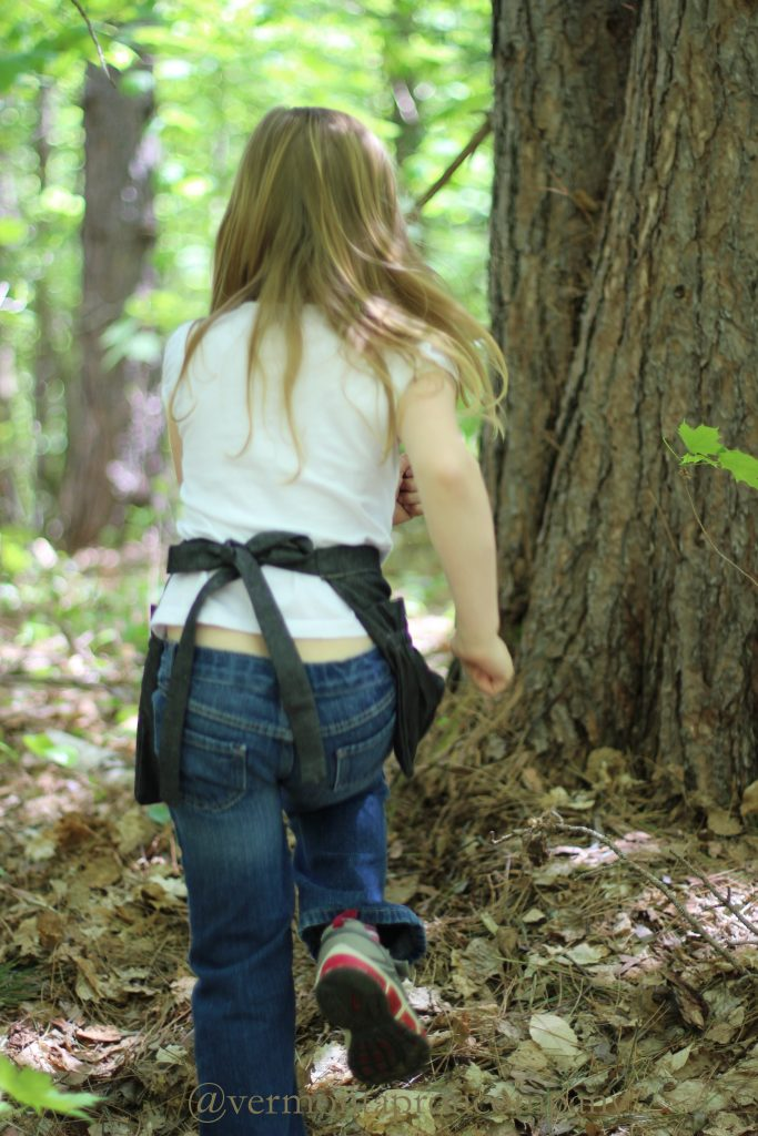 Children's Aprons/Gathering Apron for kids by The Vermont Apron Company in Black Denim for forest adventures.