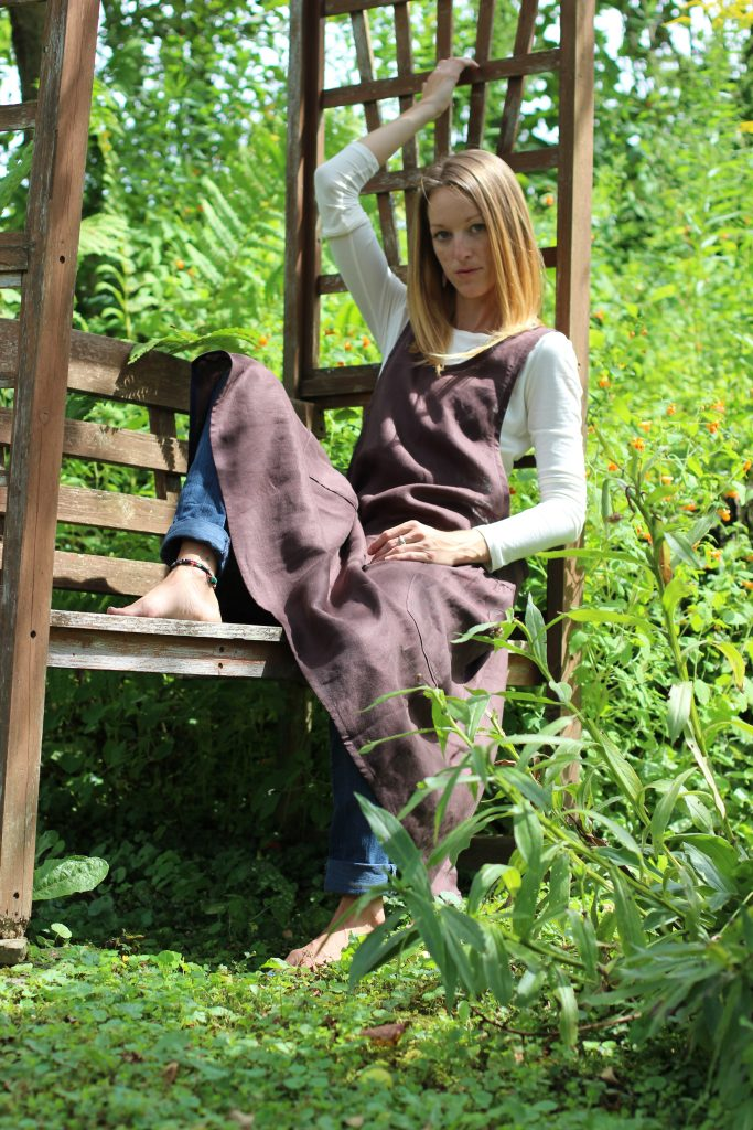 Long, Elegant, Chocolate Brown Linen Aprons with No Ties, instead it has criss cross straps