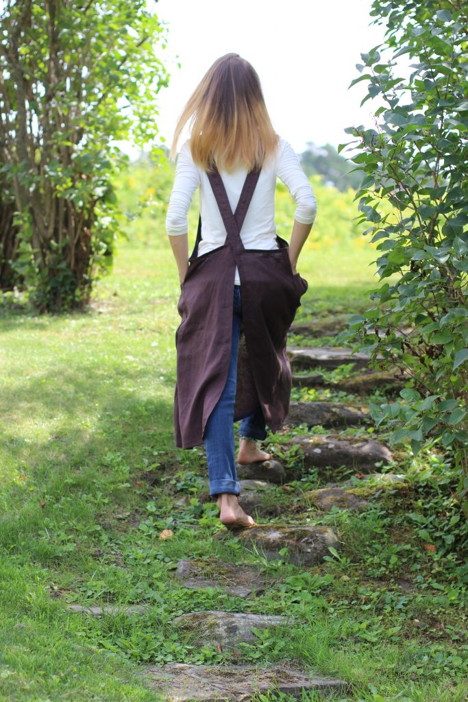 Long, Elegant, Chocolate Brown Linen Aprons with No Ties