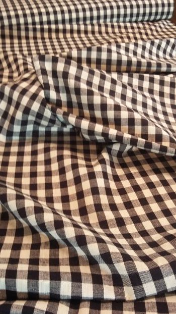 Black and White Check Homespun for Gathering Aprons