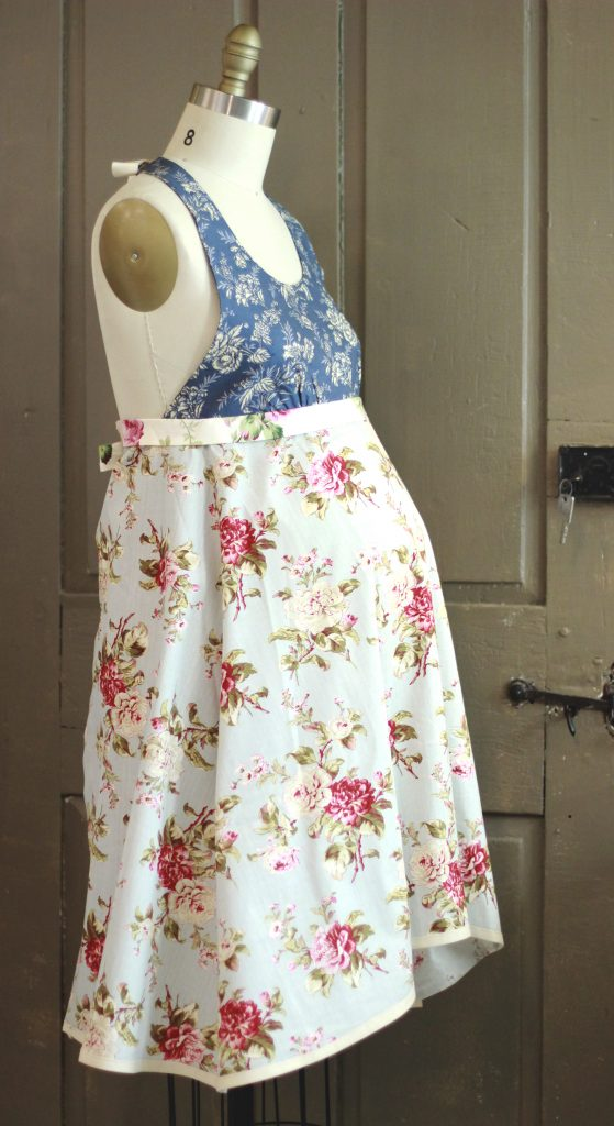 Scrap Art Aprons work well as a fitted option for maternity aprons.