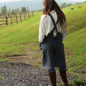 Grey Linen No Tie Apron - back view
